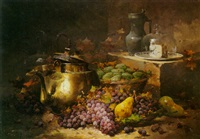 a still life with grapes and pears in a basket, a copper pot, a wedge of blue cheese and a wine pitcher behind by laurency