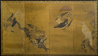 birds of prey (in 4 parts) by anonymous-japanese (edo period)