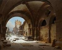 blick auf die kirchenruine in halberstadt im winter by carl georg adolph hasenpflug