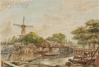 view of the binnenamstel with the hoogesluis by willem stad