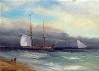 meeresküste mit schiffen by konstantin konstantinovitsch arceulov