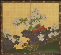 chrysanthemums and brushwood fence (pair) by japanese school-kano (19)