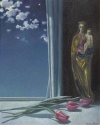 nächtliches stillleben mit tulpen und marienskulptur by marcus jacobi