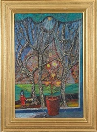 scene with tree, flowerpot, and figure with dog by nahum tschacbasov