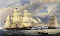 sailing ships near the white cliffs of dover by j. scott