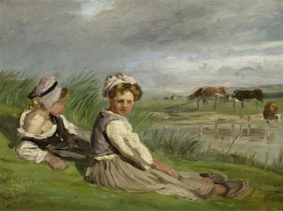 zwei schäferinnen aus der normandie auf einer wiese by paul huet
