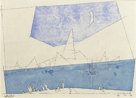 scuttling away sketch verso by lyonel feininger