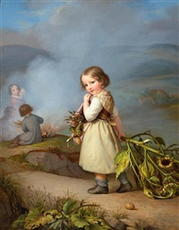 girl on her way to cooking potatoes in the fire by august von der embde