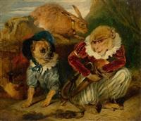 zirkusaffe mit hund und hase by sir edwin henry landseer