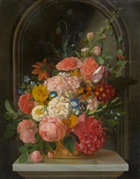 still life of flowers on a marble slab before a niche by françois lepage