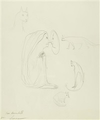 woman with cats by leonora carrington