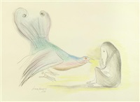 woman with birds by leonora carrington