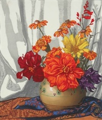poppies in a vase (+ flowers in a vase; 2 works) by hugo noske