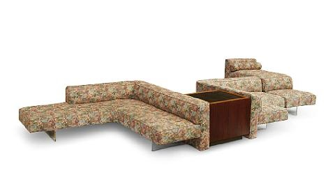 Modular Omnibus sofa prising a day bed and cube table by