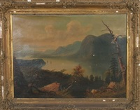 landscape of river valley with figure and boats by paul ritter