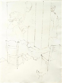 mädchen im schlafzimmer (+ figurengruppe, verso) by george grosz