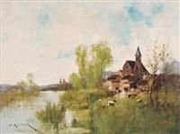 flusslandschaft mit dorf by eugène galien-laloue