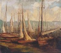segelboote im hafen by willibald kramm