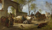 requisition während der schlacht von novara, piemont während des italienkrieges von 1848-49 by eugen adam
