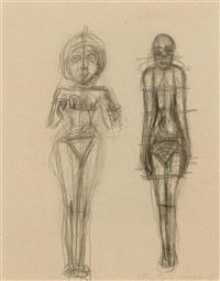 d'après deux statuettes d'antiquité orientale (+ d'après rubens: hélène fourment et son fils, verso) by alberto giacometti