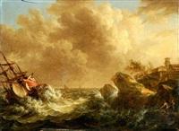 küstenlandschaft bei sturm, mit kenterndem segelschiff by johann caspar huber