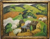 landscape, rolling hills, farm by charles ward