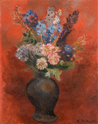 bouquet de fleurs sur fond rouge by andré lanskoy