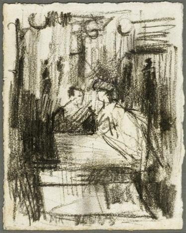 figuren an einem tisch im café by medardo rosso