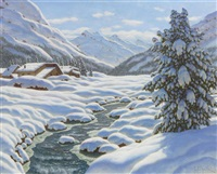 snowy winter landscape in the mountains by choultse lew alexandrovitch