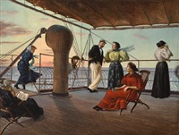 relaxing on ship's deck by v. p. casorati
