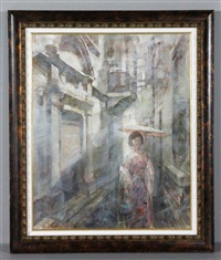 portrait of young chinese woman carrying a parasol and walking down a narrow alley by xu zhigang