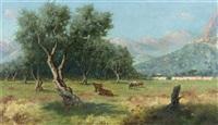 italienische landschaft im abendrot by erminio cremp