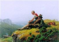 junges paar mit hund auf der alp by franz leinecker