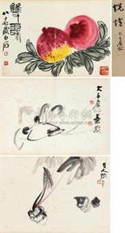 双寿 蘑菇 芋香 (3 works) by zhang daqian and qi baishi