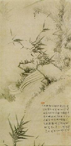 Bambus Felsen Und Wasserfall By Wu Zhen On Artnet