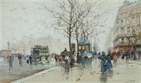 street scene in paris with horse-drawn carriages by eugène galien-laloue