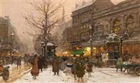 street scene in paris in the winter by eugène galien-laloue