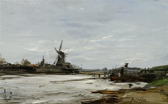 le moulin près de la rivière by antoine vollon