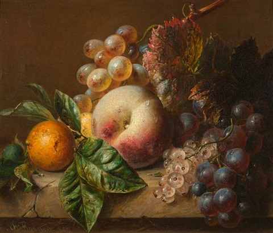 früchtestilleben mit pfirsich trauben weissen johannisbeeren und einer orange by adriana johanna haanen