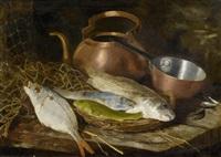 stilleben mit fischen und einer kupferkanne by aristide bourel