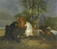 indianer bei der pferdejagd by johann georg volmar