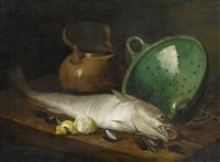 stilleben mit fisch, kupferkanne und grünem sieb by aristide bourel