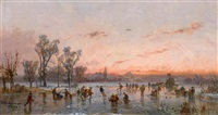 winterlandschaft im abendrot by adolf stademann