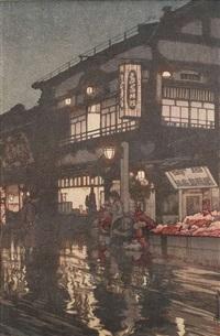 oban mit titel kagurazaki dori by hiroshi yoshida