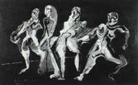 composition with four figures by kurt roesch