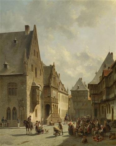 marktszene am holzmarkt in halberstadt by jacques françois carabain