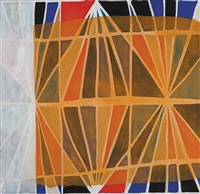 untitled (abstract in orange, red and white) by marion mildred dale scott