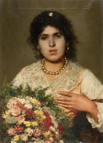 zigeunermädchen mit blumenstrauss by konstantin egorovich makovsky