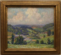 spring time in the valley, rolling hills by samuel george phillips