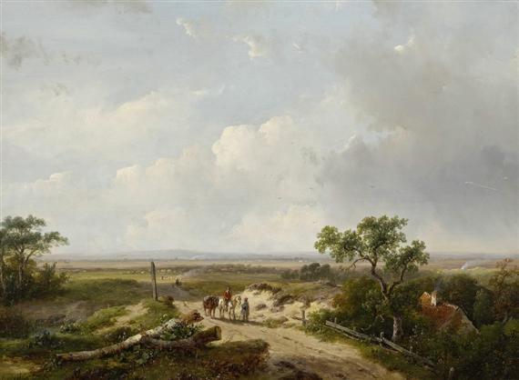 landschaft mit reisenden by andreas schelfhout